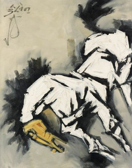Maqbool Fida Husain, Untitled (Horse), oil on canvas, late 1960s.