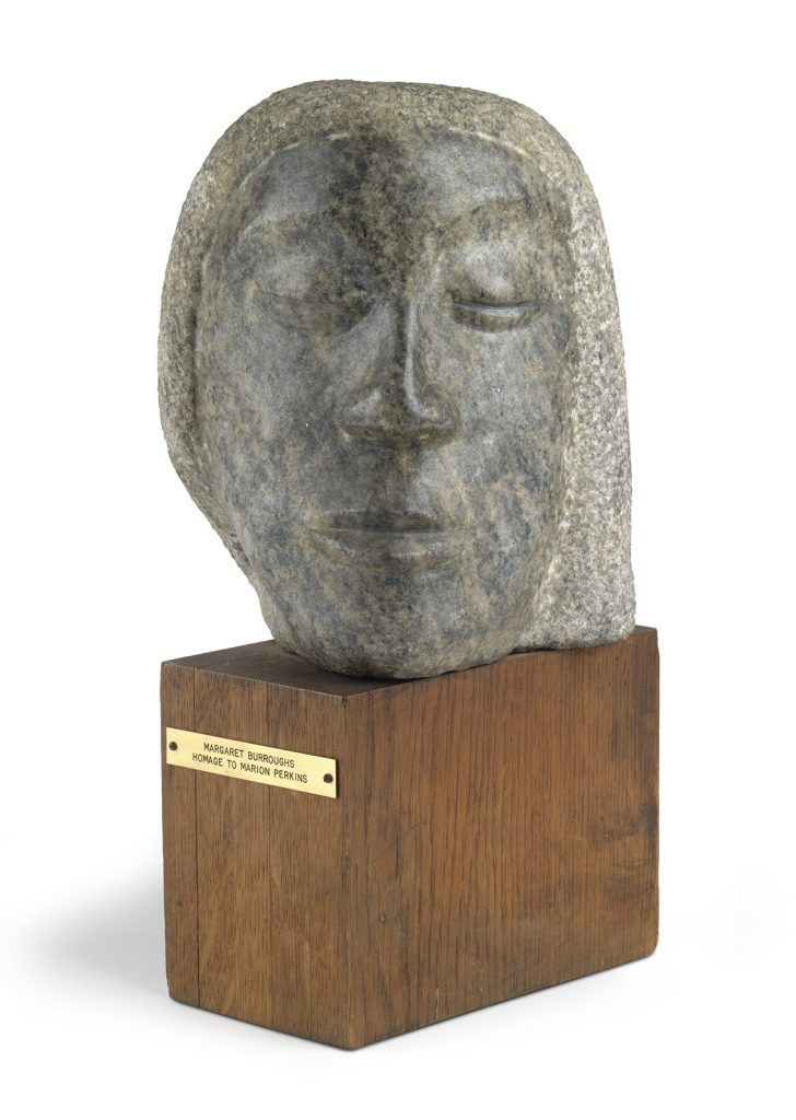 Margaret Burroughs, Homage to Marion Perkins, carved granite, mounted on wood base, circa 1961-63.