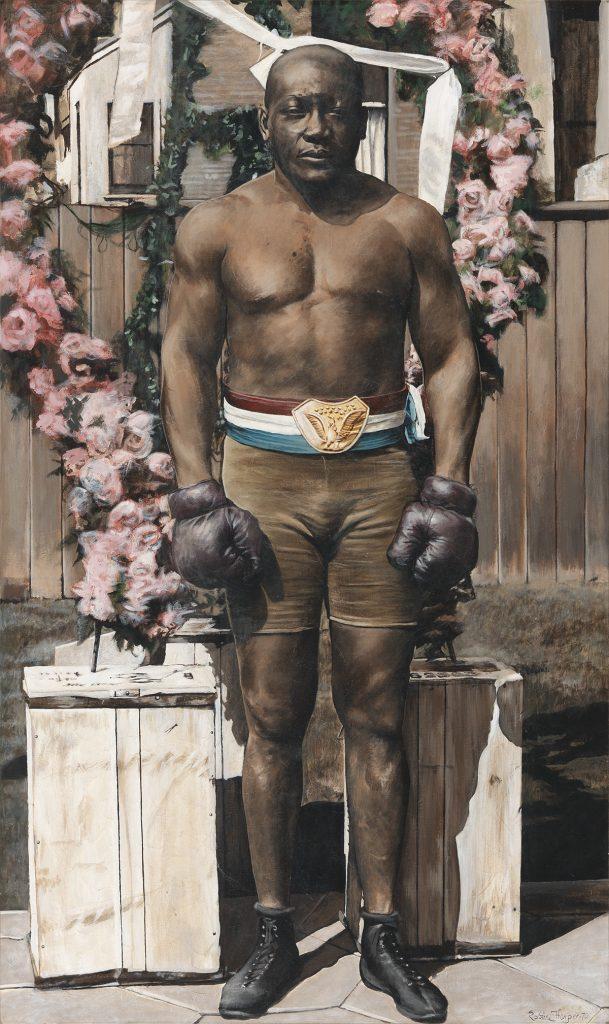 Robin Harper, Jack Johnson, oil on canvas, portrait of a boxer, 1970.