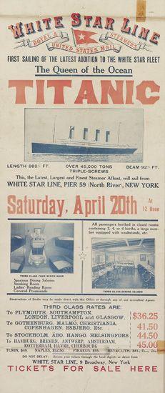 White Star Line / Titanic, poster,  1912.