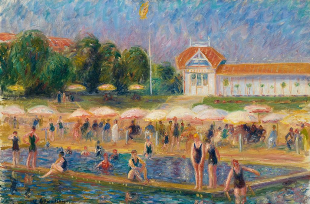 William Glackens, The Beach, Isle Adam, oil on canvas of a beach scene, circa 1925-26.