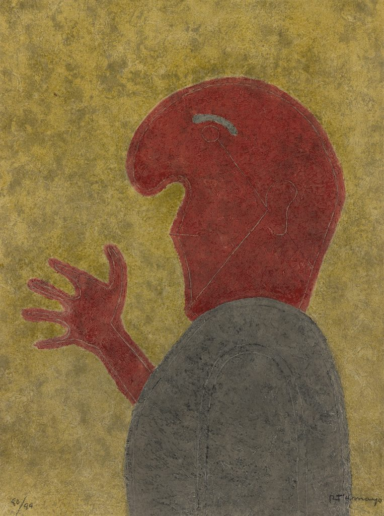 Rufino Tamayo, Personaje de Perfil, color etching, 1980. $3,000 to $5,000.