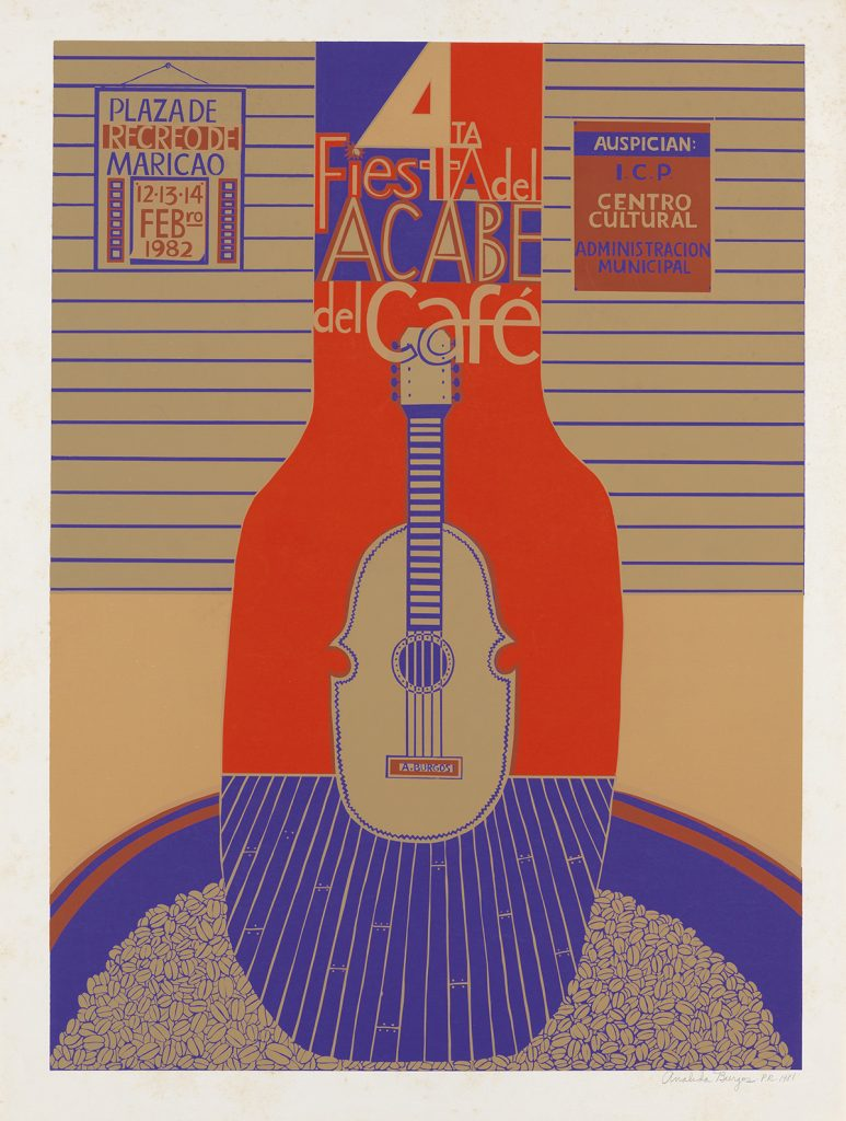 Analida Burgos, 4ta Fiesta Adel Acabe del Café, image of a deco guitar with text, from an archive of over 350 posters, 1982.