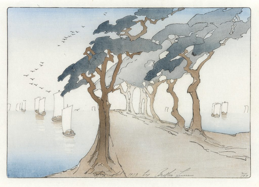 Bertha Lum, Pines by the Sea, color woodcut, 1913.