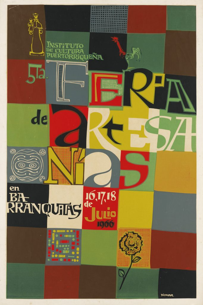 Lorenzo Homar, Feria de Artesta Onías, grid of colors with hand drawn text, from an archive of over 350 posters, 1966.
