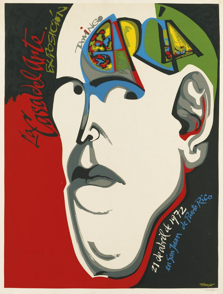 Lorenzo Homar, La Casa del Arte Exposición, abstraction of a head,  from an archive of over 350 posters, 1972.