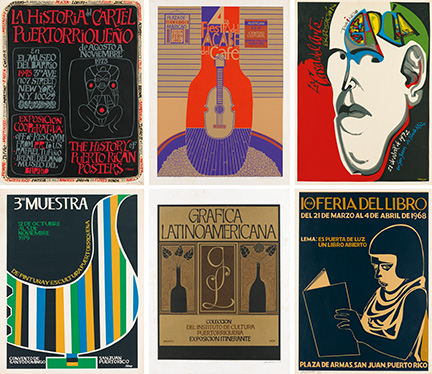 Archive of over 350 Puerto Rican graphic design posters, including prints & serigraphs, pictured is 6 posters, 1960–2013.