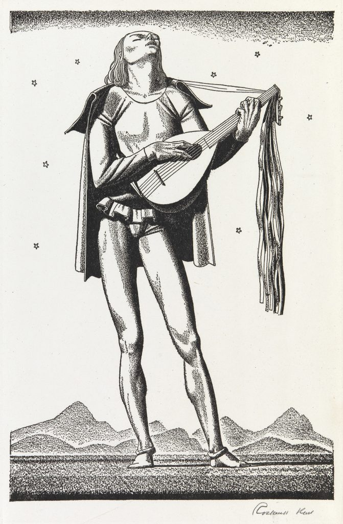 Rockwell Kent, Forty Drawings to Illustrate the Works of William Shakespeare, portfolio, 1937. Image of a man with a lute.