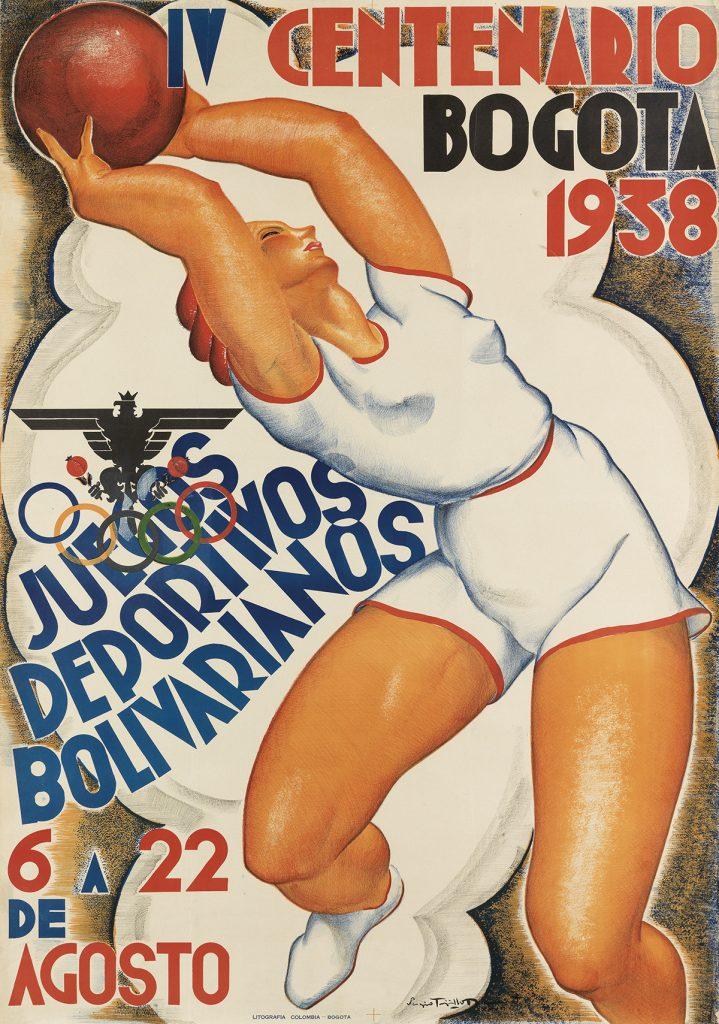 Sergio Trujillo Magnenat, Bogota 1938 / IV Centenario / Juegos Deportivos Bolivarianos, image of a basketball player, 1938.