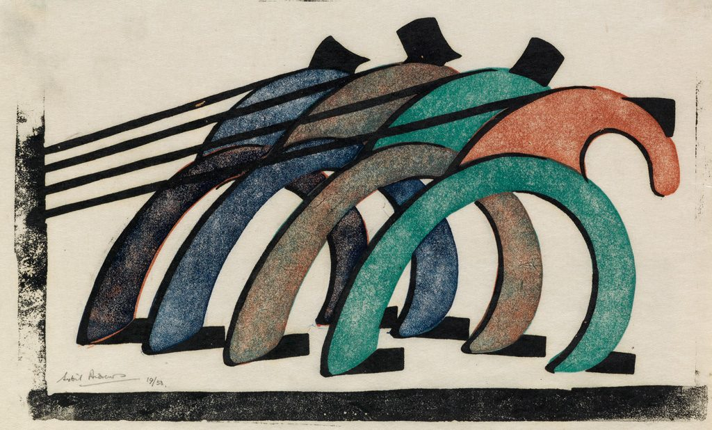 Sybil Andrews, Haulers, color linoleum cut, 1929.