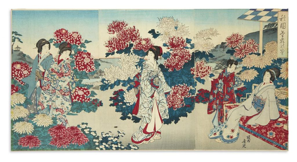 A group of eight large Ukiyo-e color woodblock triptychs, late 19th century.