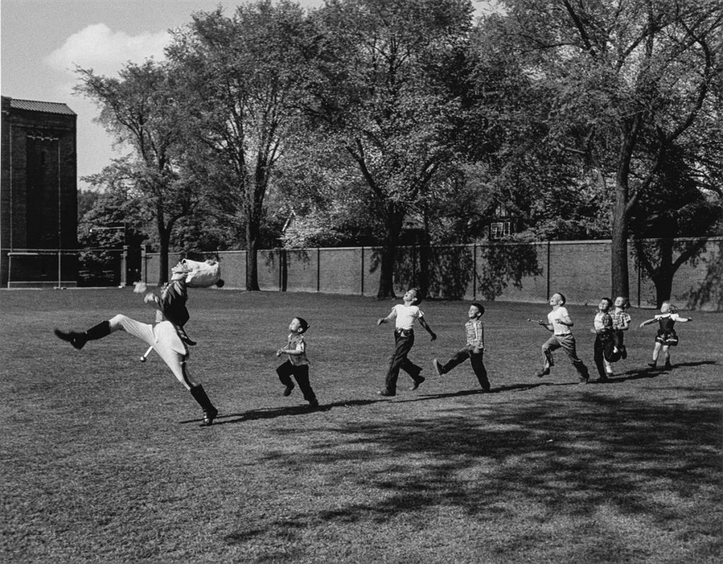 Alfred Eisenstaedt, Drum Major and Children, University of Michigan, silver print, edition 168 of 250, 1951, printed 1994.