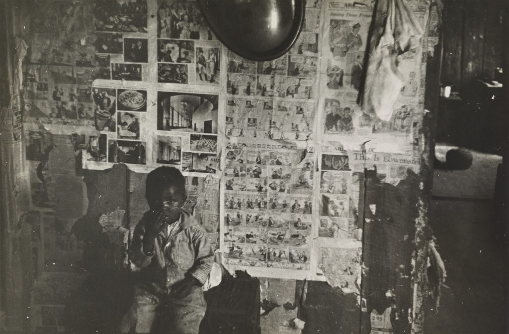 Ben Shahn, Interior of Negro Tenant Farmer's Home, Little Rock, Arkansas, silver print, 1935.