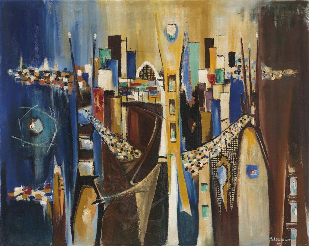Billie L. Alexander, Translucent Metropolis, oil on canvas, 1964.
