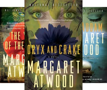 Covers of the MaddAdam trilogy by Margaret Atwood
