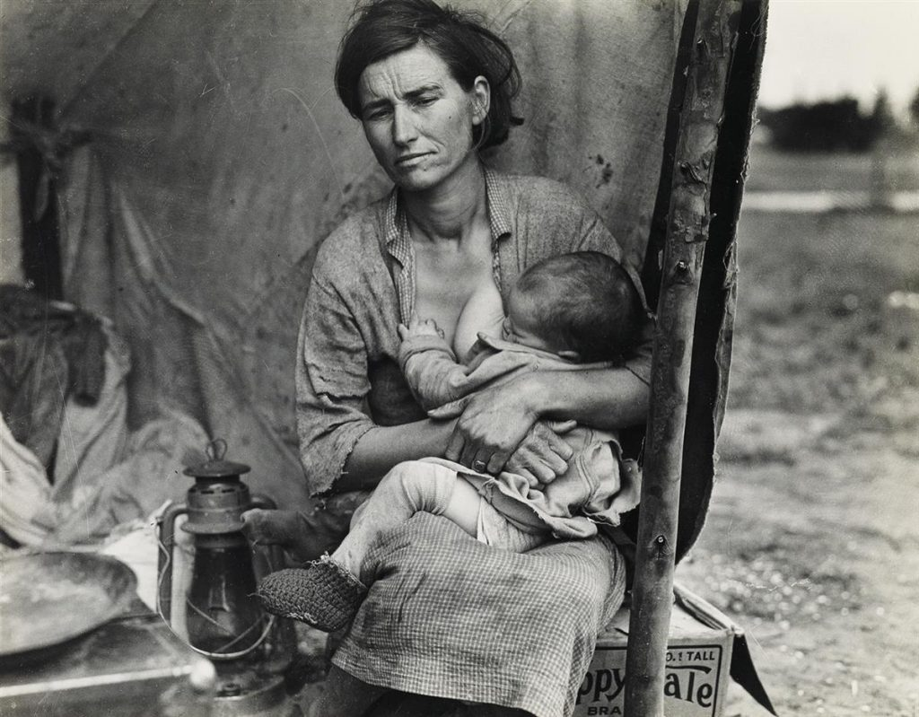 Dorothea Lange, Migrant Mother (Florence Thompson) with Child at Her Breast, silver print, 1936, printed 1960s.