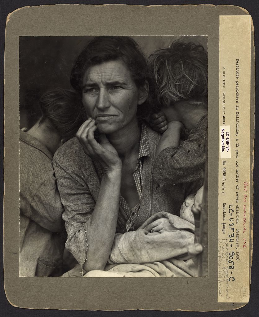 Dorothea Lange, Migrant Mother (Florence Thompson), with FSA annotations, 1936.