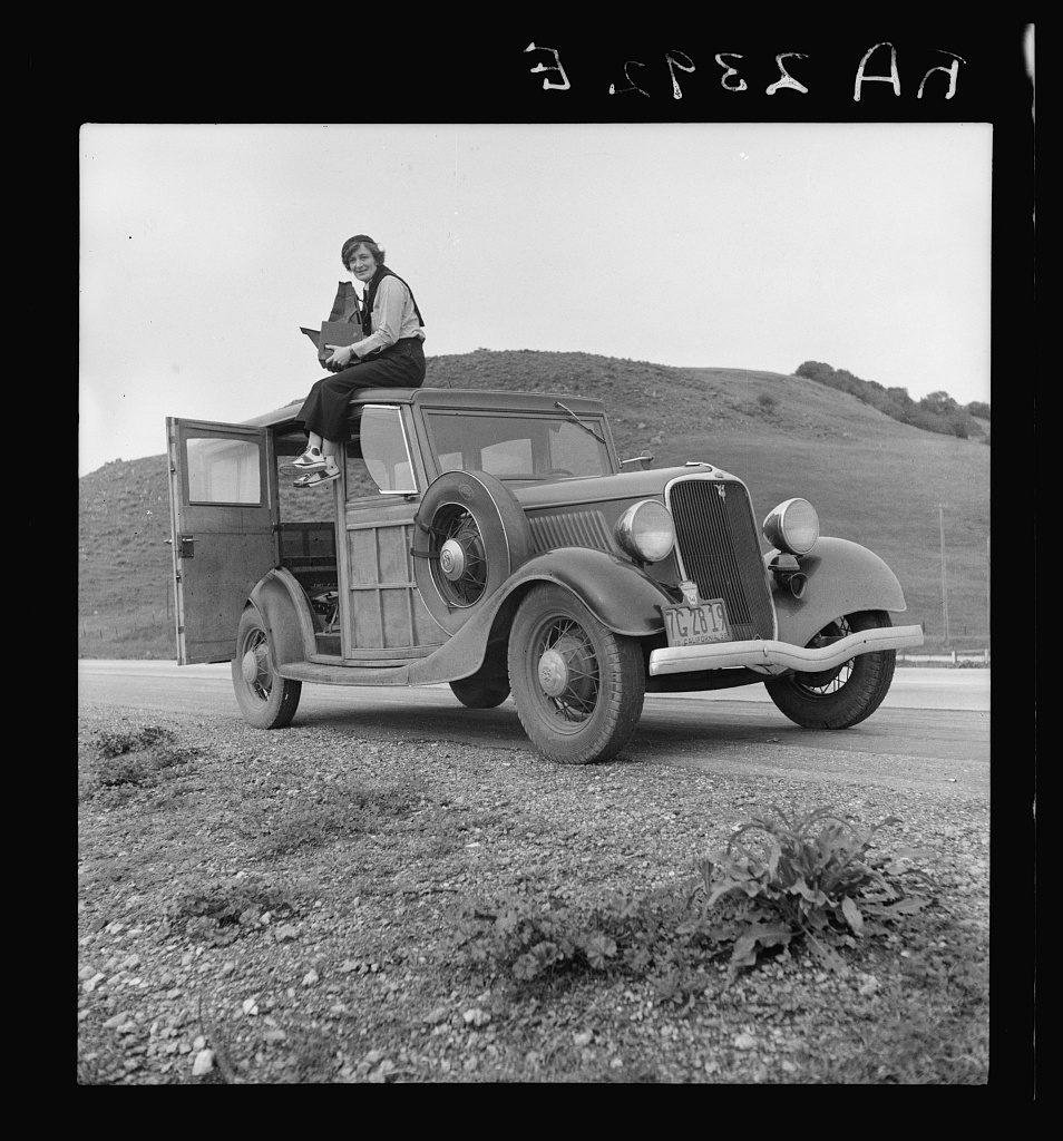 Dorothea Lange, Resettlement Administration photographer, in California, 1936.