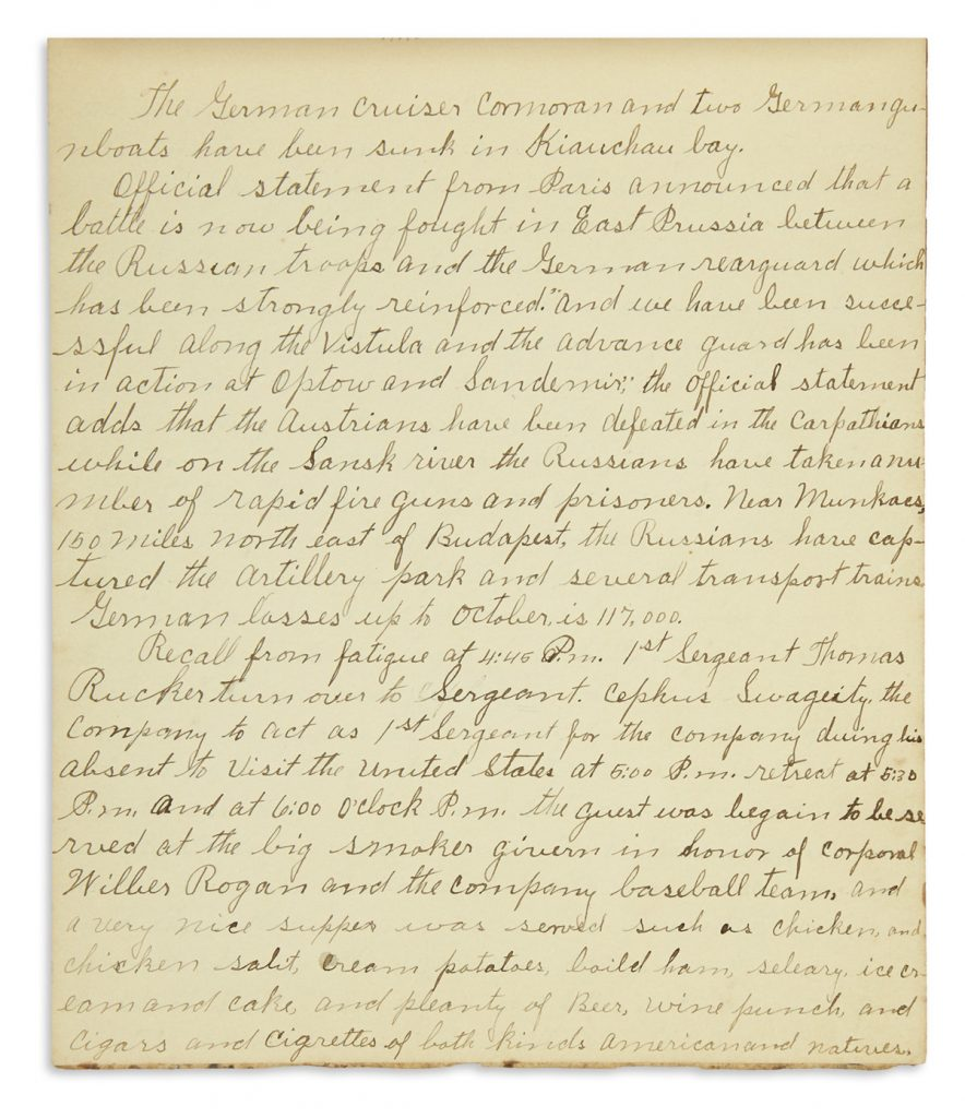 A.B. West, manuscript diary of a buffalo soldier station in the Philippines, 1914