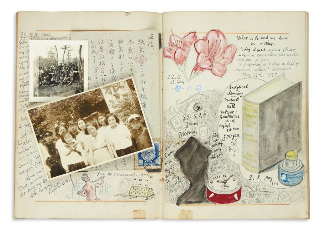 Nishigori, manuscript diaries of a young Japanese Christian man during the war and occupation years, two pages with text and illustrations, 1938-54