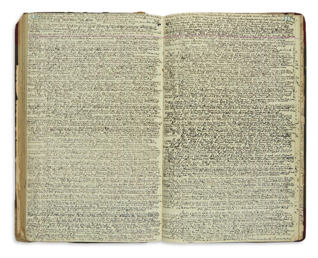 George C. Bryson, manuscript diary kept by a saloon keeper and police judge, two page spread with tiny script text, Reno, NV, 1903-17