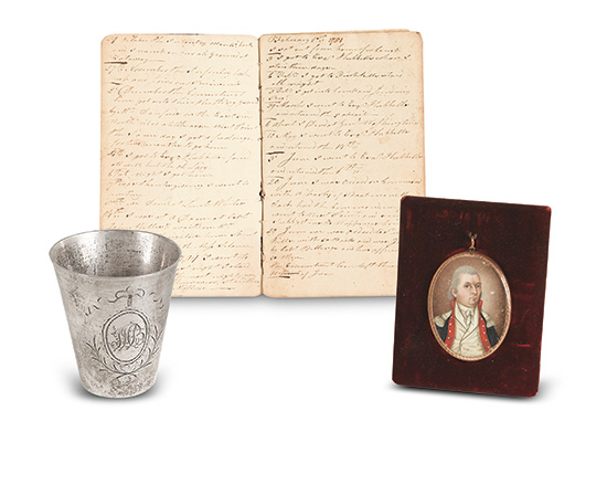 John Hutchinson Buell, manuscript diary of a Connecticut office, with his miniature portrait and silver cup, 1780-84