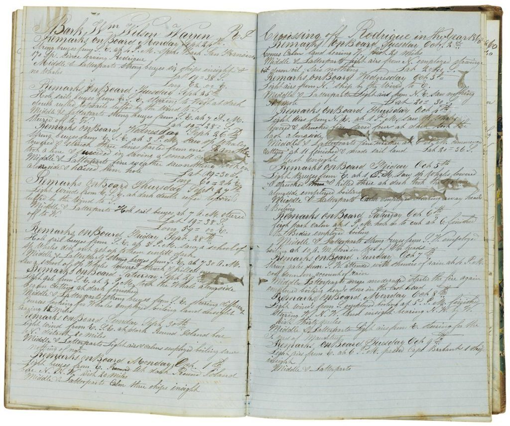 Alida Taber, manuscript diary kept by the wife of whaling captain, two pages with whale stamps, 1853-61