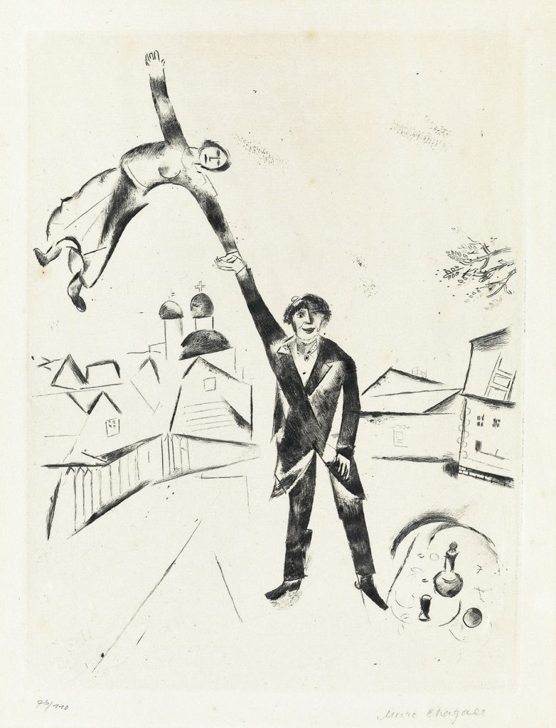 Marc Chagall, Der Spaziergang I, etching and drypoint, 1922.