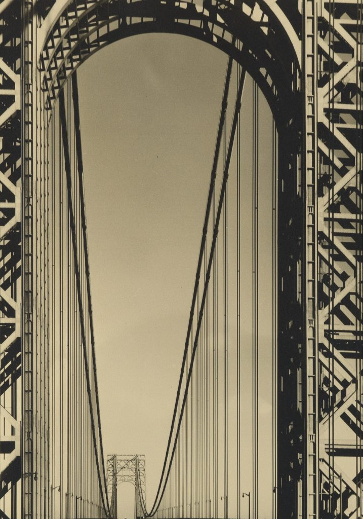 Margaret Bourke-White, The George Washington Bridge, warm-toned silver print, 1933