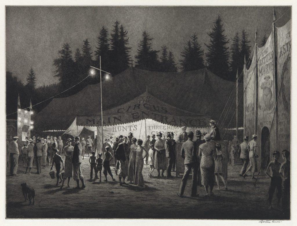 Martin Lewis, Circus Night, Drypoint, 1933.