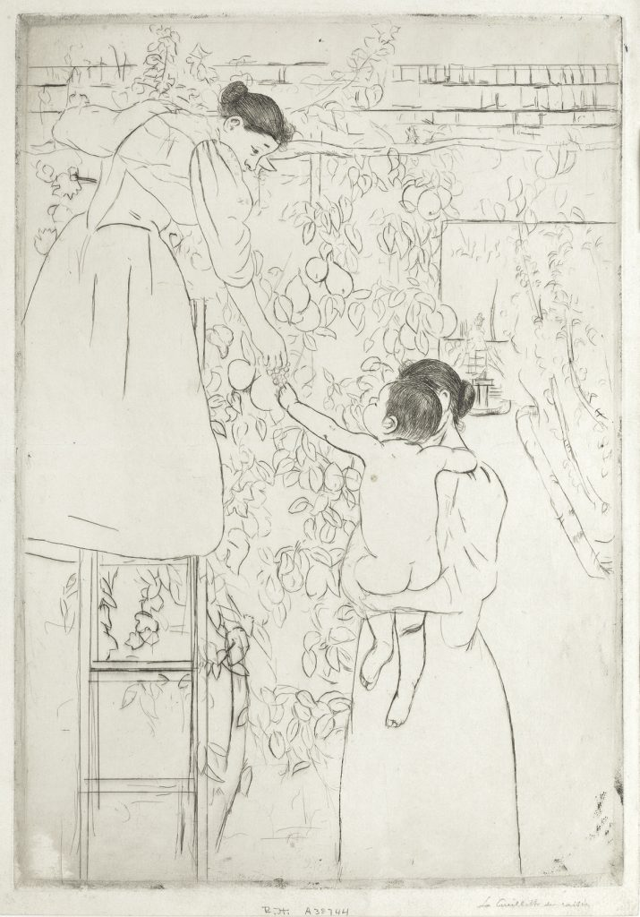 Mary Cassatt, Gathering Fruit, drypoint, circa 1893.