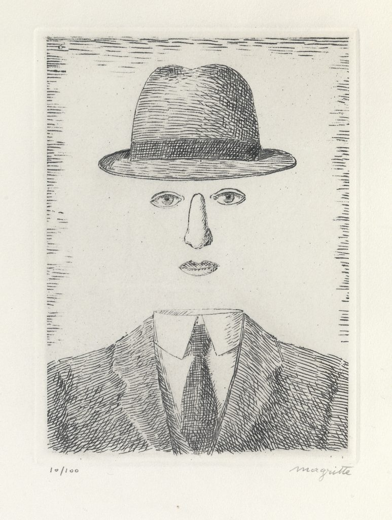 René Magritte, Paysage de Baucis (Self Portrait with a Hat), etching, 1966