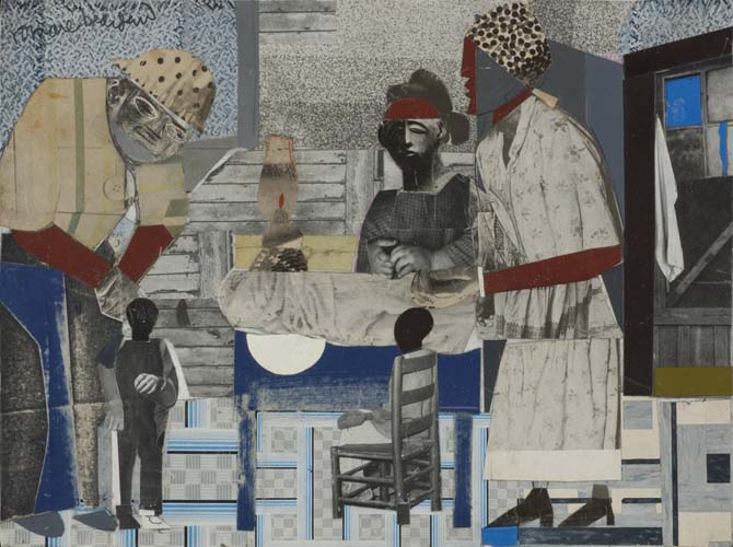 Romare Bearden Pittsburgh, collage of various papers with ink on cardboard, 1965.