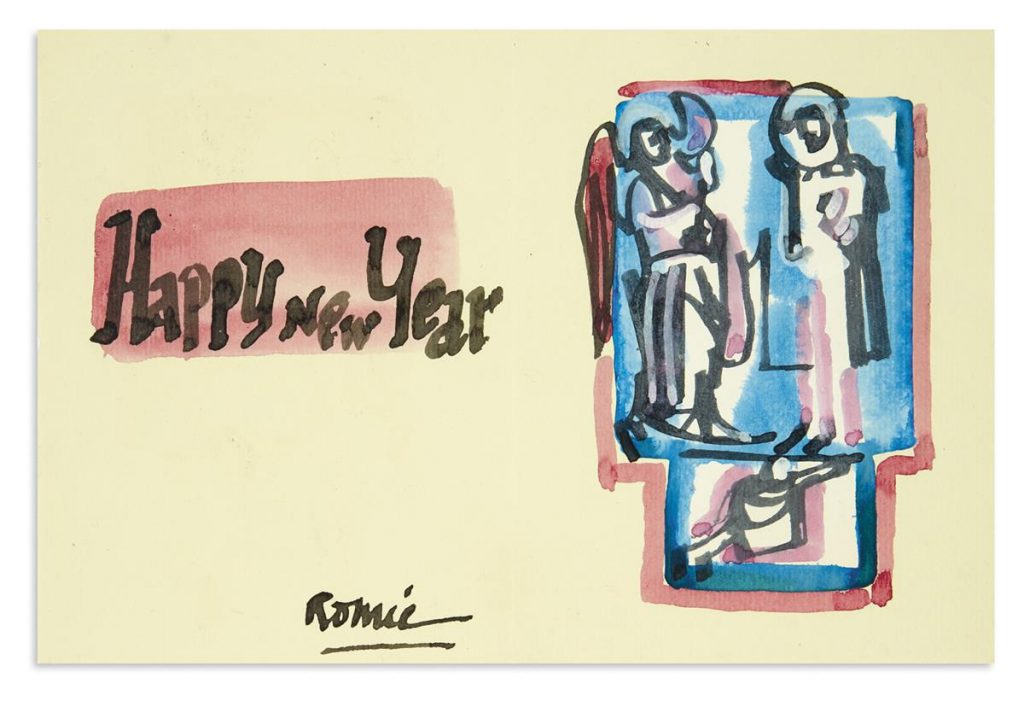 An archive of letters, postcards and greeting cards sent by Romare Bearden to Harry Henderson, watercolor greeting card from the archive, 1949-87.