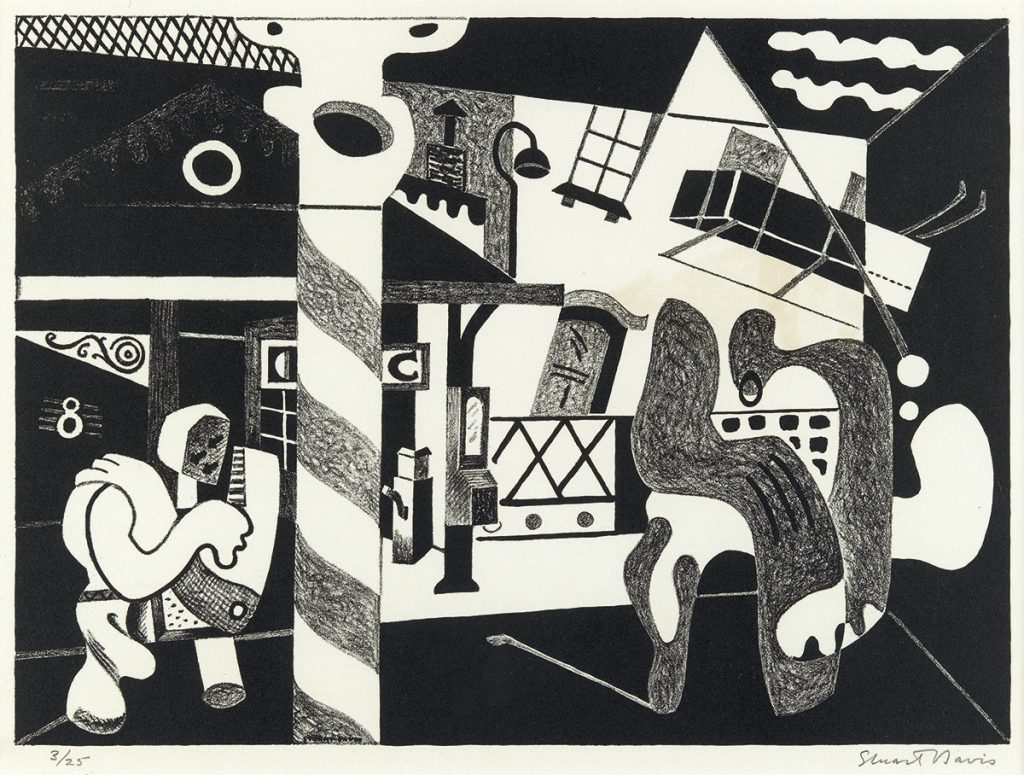 Stuart Davis, Two Figures and El, lithograph, 1931.