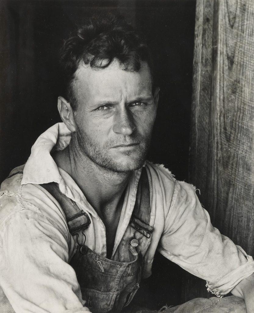 Walker Evans, Floyd Burroughs, Hale County, Alabama, ferrotyped silver print, 1936, printed 1960s.