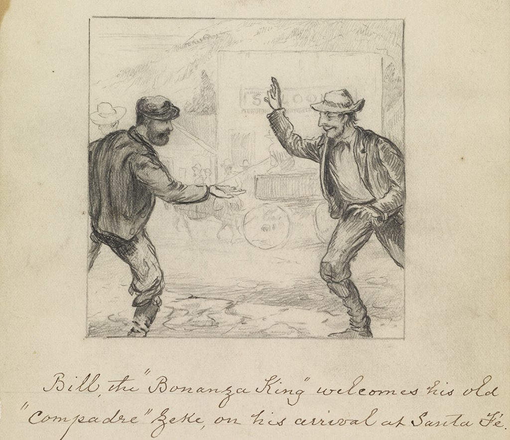William Sydney Porter, aka O Henry, an illustration of two men greeting each other from Carbonate Days, circa 1883-84.