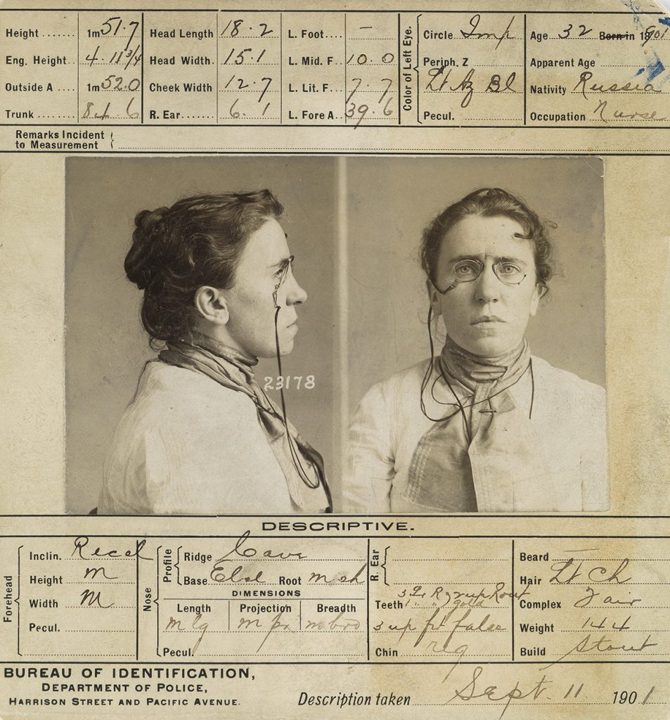 "Mug shot of Emma Goldman, ""The High Priestess of Anarchy,"" silver prints, Chicago, 1901. Sold for $10,625 in October 2018."