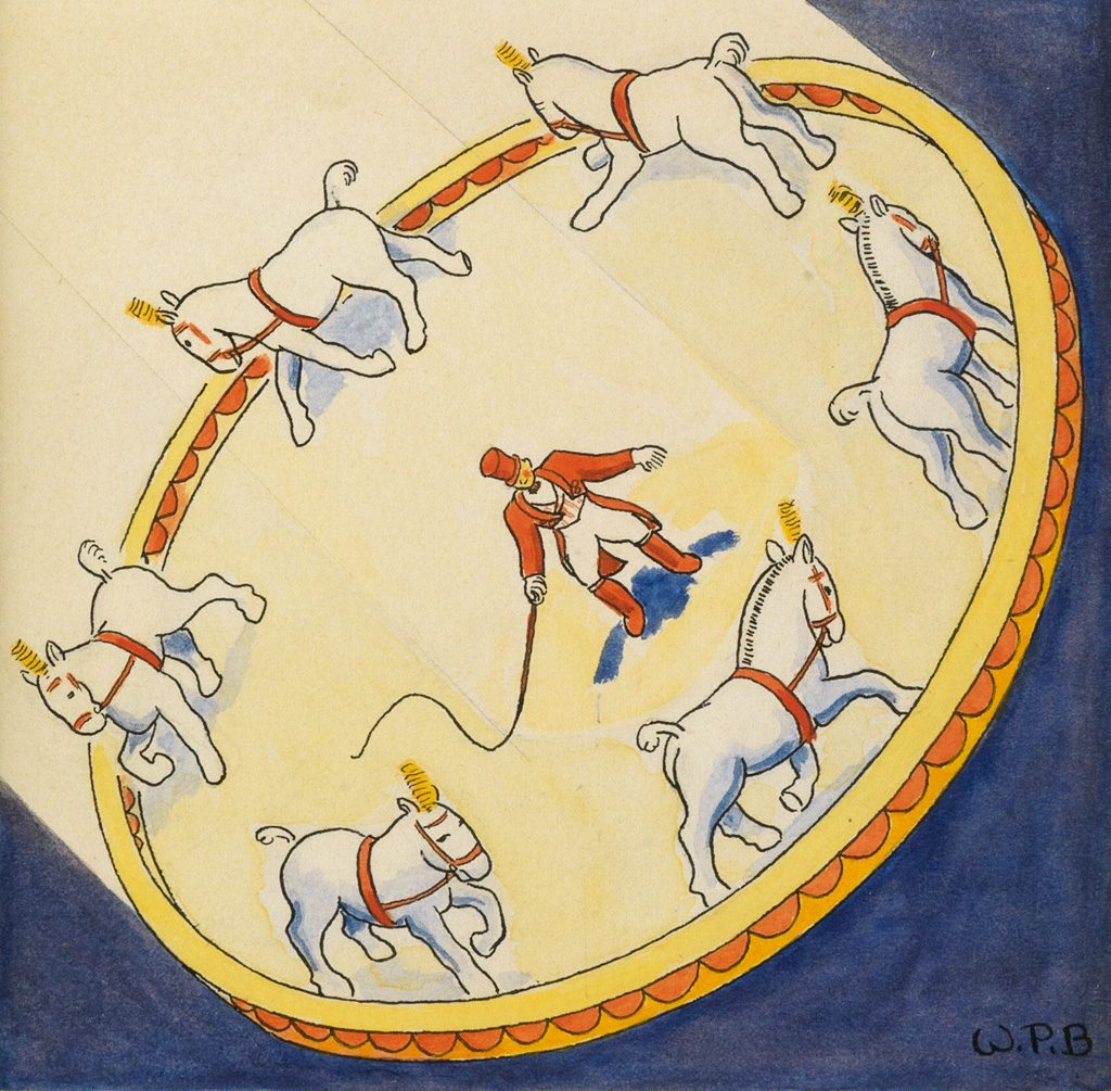 William Pène du Bois and Raoul Pène du Bois, Tights and Makeup, 21 circus-themed illustrations, watercolor, pen and ink, circa 1935.