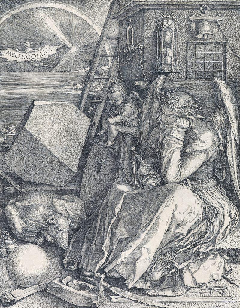 Albrecht Dürer, Melencolia I, master engraving, 1514.