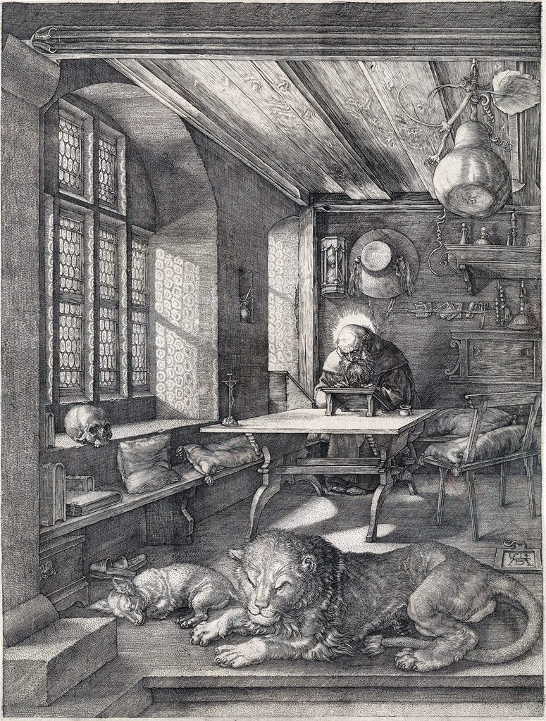 Albrecht Dürer, St. Jerome in his Study, master engraving, 1514.