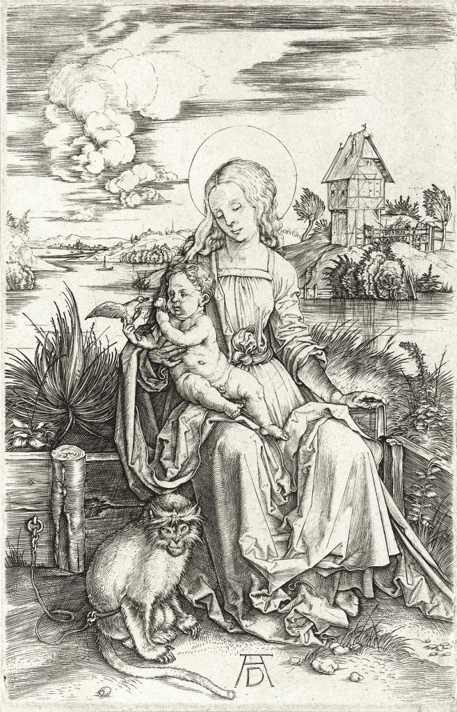 Albrecht Dürer, Virgin and Child with the Monkey, engraving, circa 1498. Sold October 29, 2019, in Old Master Through Modern Prints for $2,250.