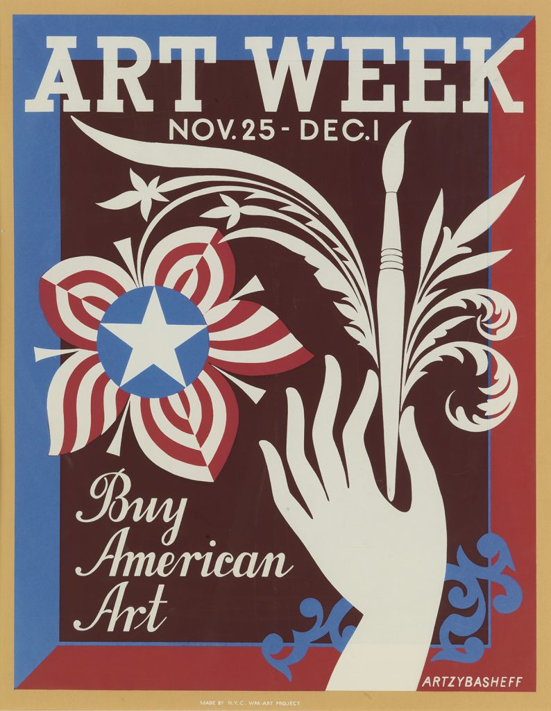 Boris Artzybasheff, Art Week / Buy American Art, circa 1939. WPA Poster