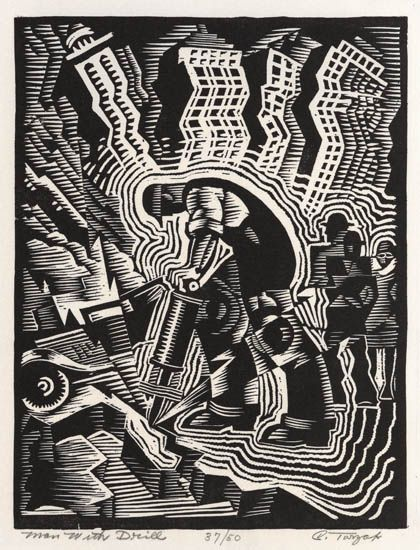 Charles Turzak, Man with Drill, linoleum cut, circa 1935-42.