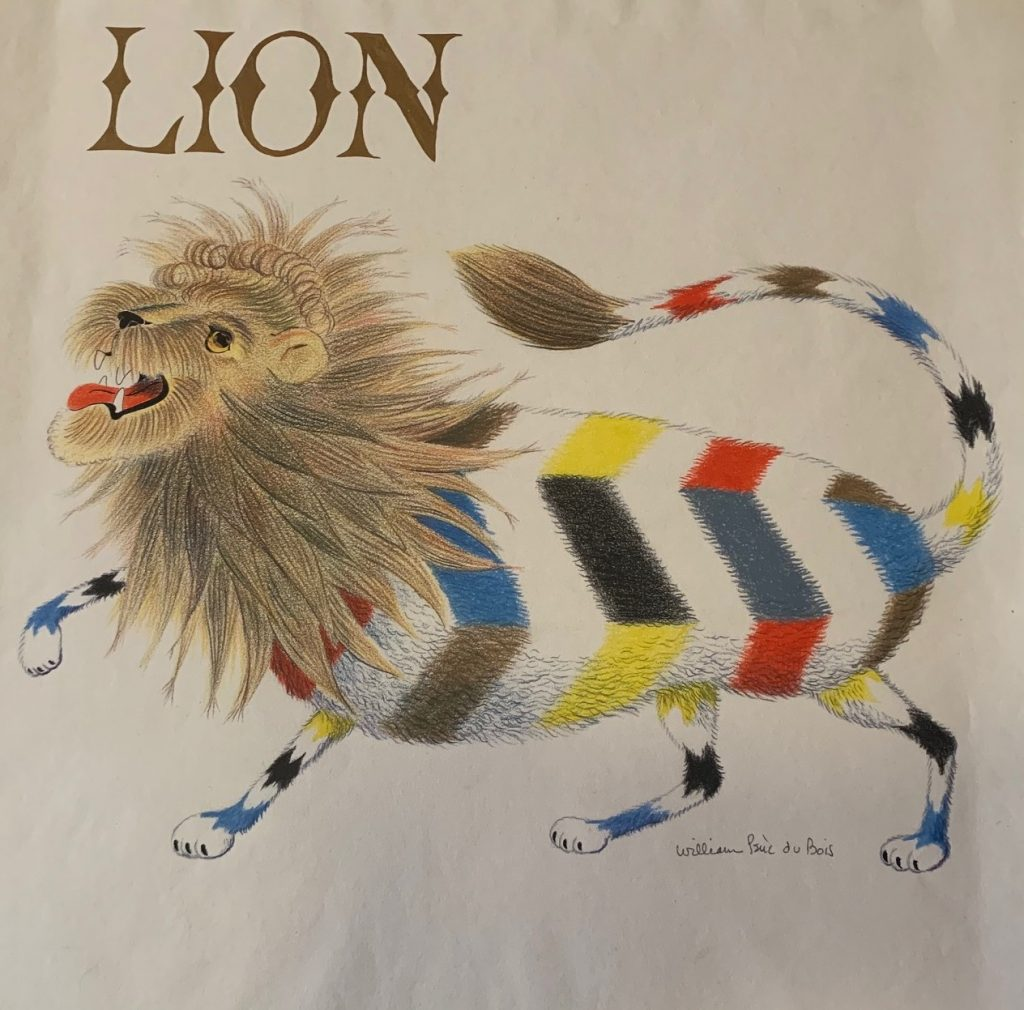 William Pène du Bois, illustration for interior story and cover (with a variation in typography) of Lion, mixed media, including pen, ink, colored pencil and graphite on paper, 1956