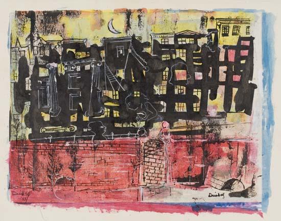 David C. Driskell, Untitled (City Nocturnal), gouache, watercolor, pen & ink, 1953.