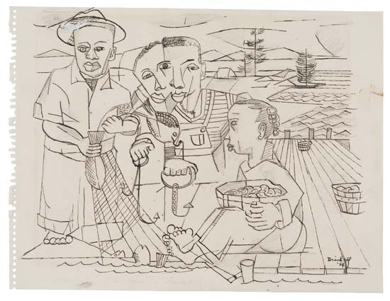David C. Driskell, Fisherman, pen & ink over pencil, 1954.