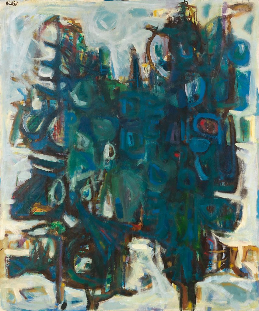 David C. Driskell, Two Pines (Two Trees), oil on canvas, 1961