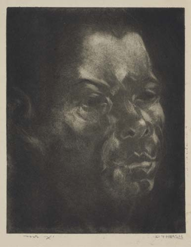 Dox Thrash, Mr. X (First Version) [Self Portrait], carborundum mezzotint over etched guidelines, circa 1937-38.