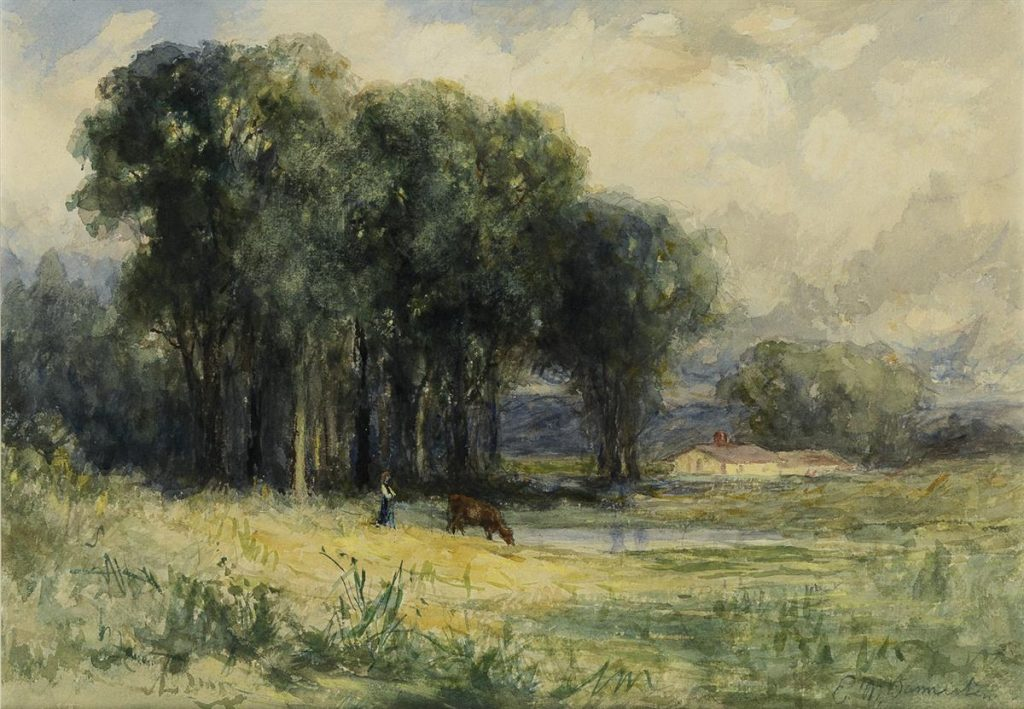 Edward M. Bannister, Landscape with Cow and Female Figure, watercolor, circa 1881.